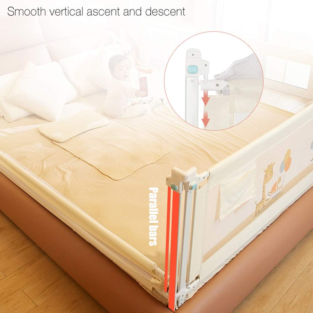 RQ Bed Rail Childrens Crib Guardrail With Safety Lock For Travel And Home Use Adjustable 8 Gears To Fit Your Mattress Color : A, Size : L-120cm