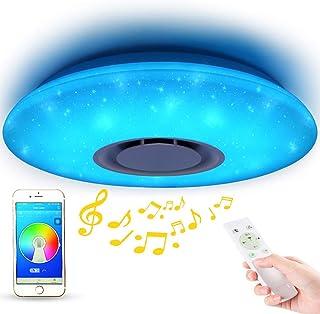 Lámpara LED de techo con diseño de cielo estrellado con mando a distancia, regulable, cambio de color, lámpara de techo con altavoz Bluetooth de 36 W, WiFi con Amazon Alexa para dormitorio