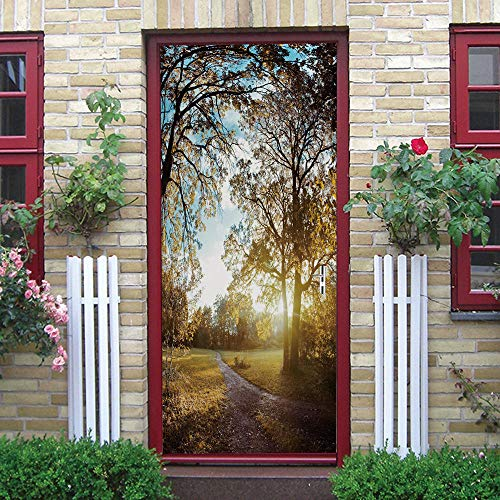 Adhesivos para puertas Bosques soleados 3D Papel pintado PVC Impermeable y a prueba de aceite,adecuado para decoración de puertas sala de estar,dormitorio,cocina y baño 77x200cm