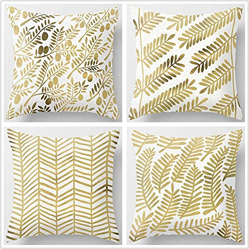 Pillow Case Cushion Cover, Linee d'oro 4 Pieces Pillow Case, Throw Pillow Covers, Home Decoration Pillow Case, Super Soft Sofa Cushion, for Living Room Sofa Bed Auto 60x60cm(24x24in)