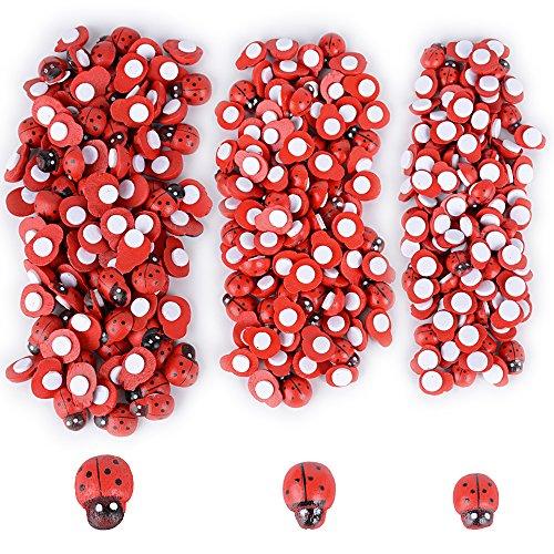 BUONDAC 300pz Coccinelle Rosse Adesive Decorative in Legno Decorazioni per Fai da Te Bomboniere Laurea Casa (3 Dimensioni)