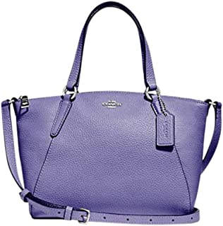 Coach Pebble Leather Mini Kelsey Satchel Crossbody Handbag (SV/Light Purple)