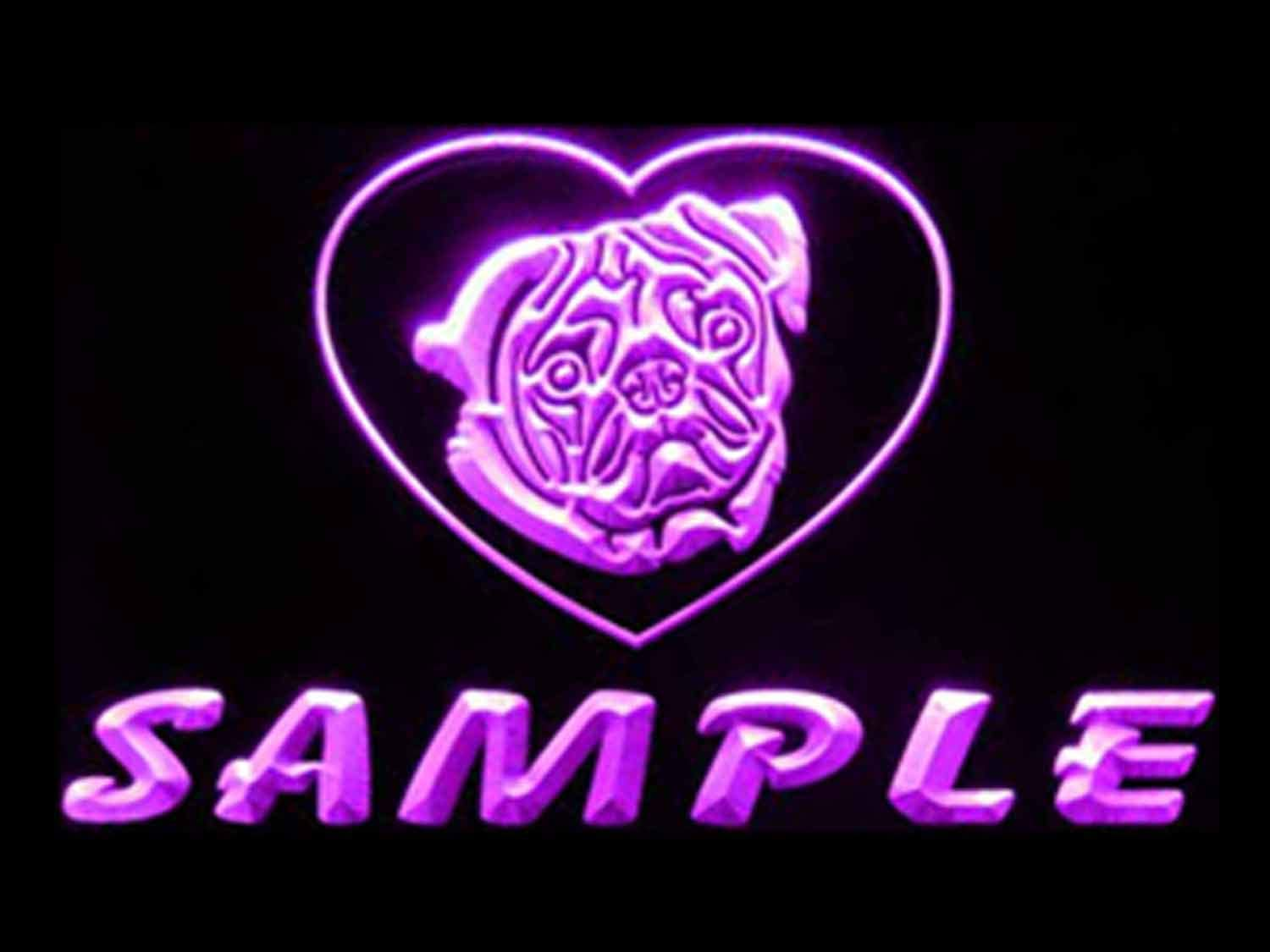 ADVPRO NEW Name Personalized Custom Pug Dog House Save money Neon Home Pur Sign