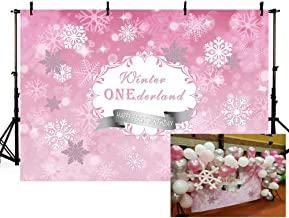 MEHOFOTO Girl Winter Onederland Photography Backdrops Princess Baby First Birthday Pink Winter Wonderland Snowflake Party Decoration Photo Studio Booth Background Banner 7x5ft