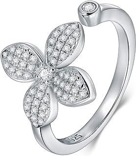 BORUO 925 纯银戒指,四叶草方晶锆石 CZ 婚戒可叠放戒指尺寸 4-12