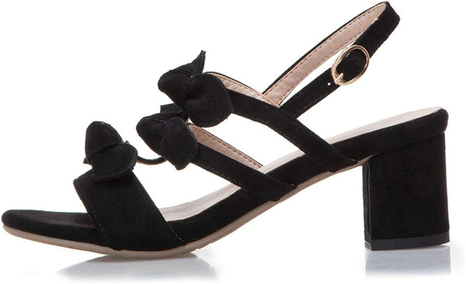 Female Sandals Butterfly-Knot Coarse High Heel Flock Ankle Strap,