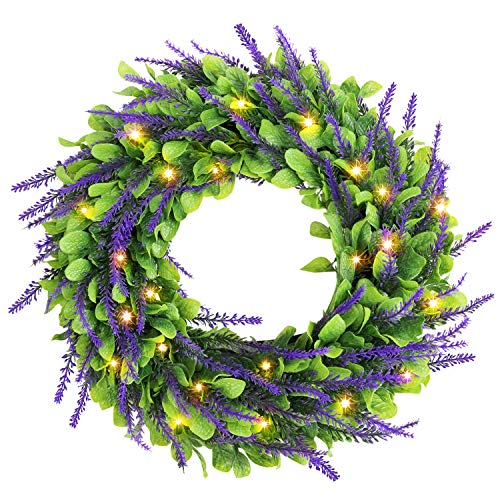 Remon 16 Inch Lighted Wreath, Artificial Lavender Wreath with Pre-Strung 30 Warm White LED Lights, St.Patricks Day Decorations, Battery Operate Hanging Spring Wreath for Front Door (2 Ways to Use)