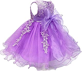 Áo quần dành cho bé gái – Baby and Girls Lace Applique Birthday Party Flower Girl Dress with Petticoat