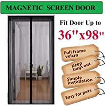 "Linkhome 36""(w) X 98""(h) Magnetic Screen Door for French Doors/Sliding Glass Doors/Patio Doors,Hands Free Instant Mesh Mosquito & Bug Net Curtain Black"