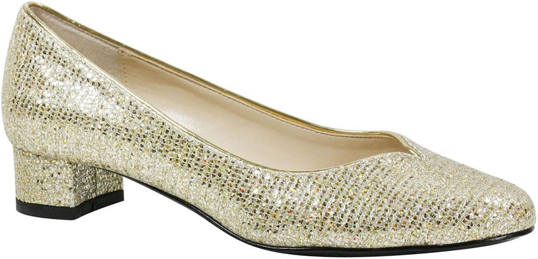 J. Renee Women's Bambalina Pump gold Fabric Size 8 M