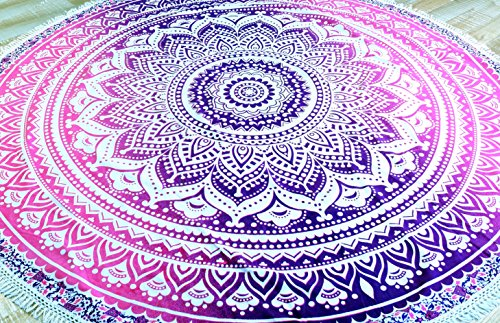 Guru-Shop R&es Indisches Mandala Tuch, Boho Tagesdecke, Picknickdecke, Stranddecke, R&e Tischdecke - Weiß/pink, Rosa, Baumwolle, Bettüberwurf, Sofa Überwurf
