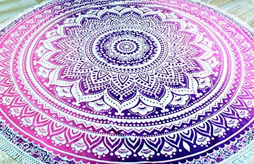 Guru-Shop Rundes Indisches Mandala Tuch, Tagesdecke, Picknickdecke, Stranddecke, Runde Tischdecke - Weiß/pink, Rosa, Baumwolle, Bettüberwurf, Sofa Überwurf