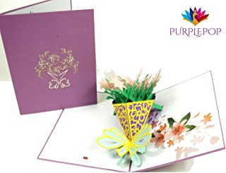 PurplePop Pop Up 3D Lily Flower Bouquet with Envelope - Laser Cut Flowers Popup Greeting & Invitation Card - Perfect for Anniversary, Wedding, Birthday, Thank You, Valentines