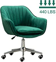Adjustable Height Office Chair Lounge Chair, Home Computer Chair with Removable Velvet Cushion, 360° Swivel and Movable Caster, Green