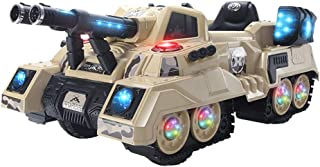 SYgerks Ride On Tank 12V Battery Powered Electric Ride On Car for Boy & Girl w/ 2.4 GHZ Bluetooth Parental Remote Control, LED Lights,Safety Belt (Khaki, 50.8 x 28.8 x 21.2)