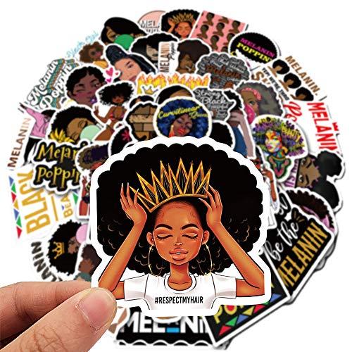 200 Piezas de Moda Inspiradoras Melanine Poppin, BKJJ Black Girl Pegatinas PVC, Melanin Poppin Decoración Pegatina para Nevera Portátil Monopatín Pegatina para Teléfono Equipaje Coche
