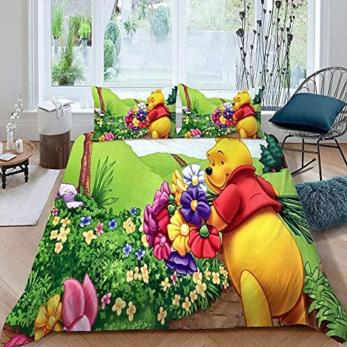 STTYE Win-nie P-ooh 3 szt. zestawy pościeli King Size Easterhd kreskówka poszewka na kołdrę sypialnia dekoracja 1 poszewka na kołdrę, 2 poszewki na poduszki