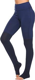 Ekouaer Women's Mid Rise Yoga Leggings The Heel Yoga Pants Patchwork Stirrup Tights Gym Yoga Workout Pants