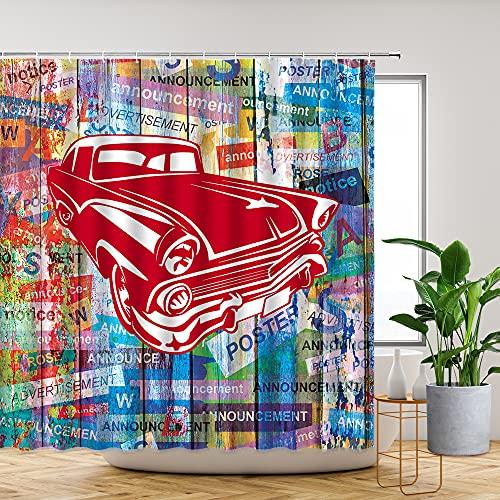 Retro-Auto-Duschvorhang, Holzbrett, Aquarell-Graffiti, buntes Buchstaben-Poster, Straßenkunst, rustikales Holz, kreatives Garagentor, Badezimmer-Dekoration, Set, Polyester-Gürtelhaken