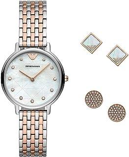 [エンポリオアルマーニ]EMPORIO ARMANI レディース 腕時計×ピアス2点セット KAPPA カッパ シェル文字盤 ローズゴールド×シルバー ステンレス AR80019 [並行輸入品]
