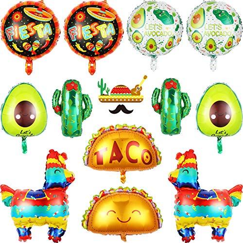 Suministros de Tema de Fiesta Globos Gigantes de Papel de Aluminio de Mylar de Taco Llama Cactus Aguacate de México para Cinco de Mayo Fiesta de Taco Decoración Tema de México