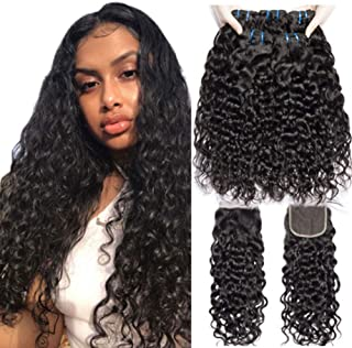 10A Unprocessed Brazilian Virgin Hair Bundles with Closure Water Wave 3/4 Bundles Wet and Wavy with 4×4 Free Part Lace Closure 100% Virgin Human Hair Extensions Natural Color (12 14 16 18 with 10)