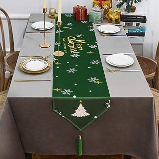 OldPAPA Chemin de Table de Noël, Linge de Table imprimé Hydrofuge pour Les Vacances, la Maison, Le Mariage, la fête 13x71 ...