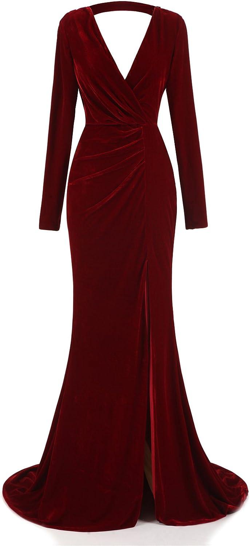 Ruolai Women's Velvet Evening Gown Neckline Atlanta Mall Plunging Great interest Prom Dress