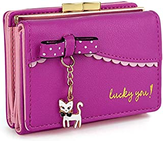 edfamily Womens Leather Cute Cat Bowknot Small Wallet Coins Purse Card Holder (Rosa)