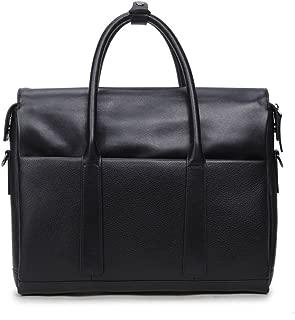 DNSJB Laptop Bag 13.3 Inch Leather Briefcase Messenger Shoulder Bag Carry On Handle Case Black for Notebook MacBook for Business Men Women