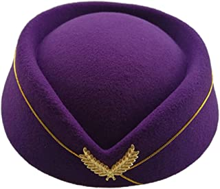 Ameyso 2019 Beret Cap Ms. Elegant Wool Airline Flight Attendant Hat Costume Etiquette Cap Female` (Color : Purple)