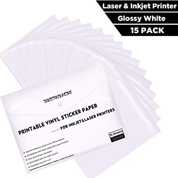"Printable Vinyl Sticker Paper - Waterproof Printable Vinyl for Laser & Inkjet Printer 15 Self-Adhesive Sheets - Glossy White - Standard Letter Size 8.5""x11"""