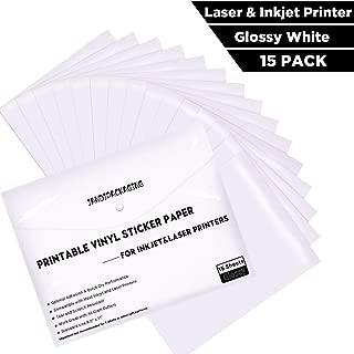 Printable Vinyl Sticker Paper -Waterproof Printable Vinyl for Laser & Inkjet Printer 15 Self-Adhesive Sheets - Glossy White - Standard Letter Size 8.5