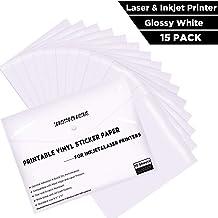 "Printable Vinyl Sticker Paper -Waterproof Printable Vinyl for Laser & Inkjet Printer 15 Self-Adhesive Sheets - Glossy White - Standard Letter Size 8.5""x11"""