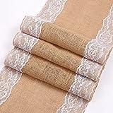 Natural yute Vintage arpillera encaje Hessian Tabla Corredor Inicio Textil Textil Boda banquete Banquete Decoración de la boda Cualidades principales ( Color : Jute table runner , Size : 30x275cm )