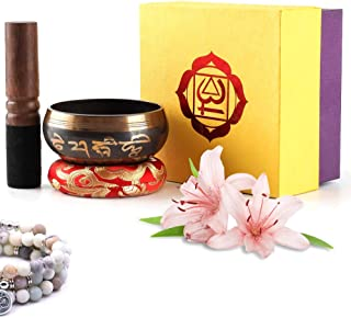 JEWEL. Tibetan Singing Bowl Set with Dual Mallet, Silk Cushion & Gift Box for Meditation, Clearing Chakras & Energy Healing - 8 cm Navy Bowl, Red and Gold Cushion, Wooden and Leather/Suede Mallet