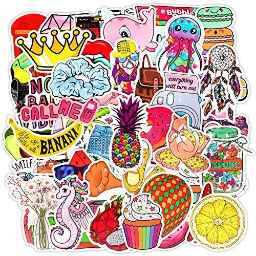 50 Stück süße Wasserflaschen-Aufkleber für Mädchen mit Ananas, Nilpferd-Ballon-Muster, wasserdichte Vinyl-Aufkleber für Laptop, Computer, Handy, Gepäck, Skateboard, Hydro-Flasche (Serie 1–50 Stück)