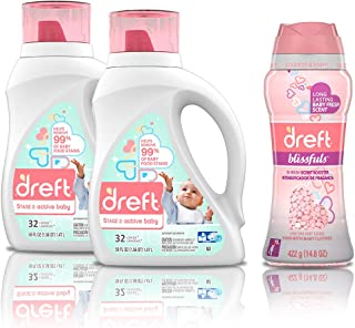 Dreft Stage 2, Active Hypoallergenic Liquid Baby Laundry Detergent for Newborn or Infant, 50 Ounces(32 Loads), 2 Count wit...