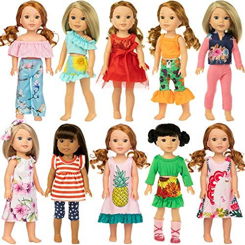 ZITA ELEMENT 10er Puppenkleidung für 36cm 37cm Puppenkleider und 14,5 Zoll American Girl Bekleidung Mode-Neuheit