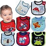 Juego de baberos Bebedou, con adornos, para bebé, 7unidades, superabsorbente, diseño unisex blanco BLUE PACK BOYS