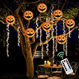 Bunny Chorus 7.9'' Large Pumpkins Paper Lantern String Lights with 48 LEDs, Jack-O-Lanterns with Remote Control, Waterproof Indoor and Outdoor Halloween Pumpkin Decorations, 8 Pcs