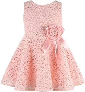Lisin 1PC Girls Kids Full Lace Floral Princess Party Dress Sleeveless Child O-Neck One Piece Dress