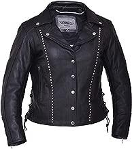 Unik International Ladies Premium Leather Studded Motorcycle Jacket 5XL