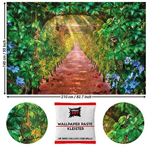GREAT ART Fototapete Weinrebenallee 210 x 140 cm – Gemälde Weingut Valley Wein Pergola Poster Vine Tunnel Herbst Garten Natur Landschaft – 5 Teile Tapete inklusive Kleister