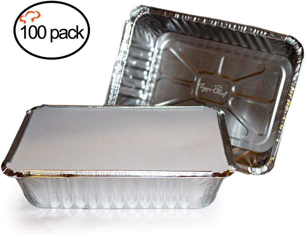 TigerChef TC 20355 Durable Aluminum Oblong Foil Pan Containers With Clear Board Lids 2 1 4 Pound Capacity 8 44 X 5 89 X 1 8 Size Pack Of 100