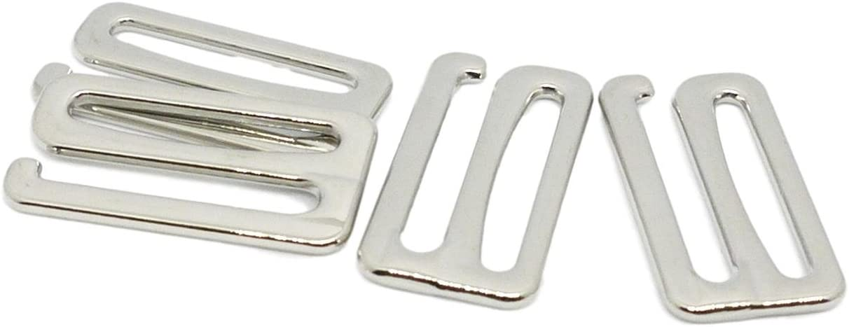 Opening 2 Pairs 4 Pieces 1 25mm Porcelynne Premium Quality Silver Metal Alloy Replacement Bra Strap Slide Hook