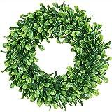 Corona verde sintética, 38 cm de hojas verdes artificiales de boj colgante de plástico verde para puerta delantera, pared, ventana, boda, fiesta