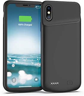 Lonlif Battery Case for iPhone X/XS, 4000mAh Slim Protective Charger Case, Portable Extended Charging Case Rechargeable Phone Backup Compatible with iPhone X/XS, Supports Headphone (Black)