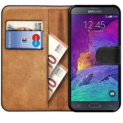 Verco Galaxy Note 4 Hülle, Handyhülle für Samsung Galaxy Note 4 Tasche PU Leder Flip Hülle Brieftasche - Schwarz