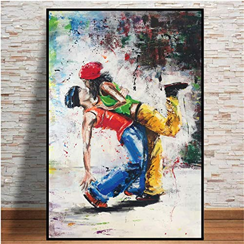 XIANGPEIFBH Abstract Lover Dancing Canvas Art Posters And Prints Wall Picture On Canvas Printed Painting For Living Room Decoration 45x60cm(18'x24') Unframed